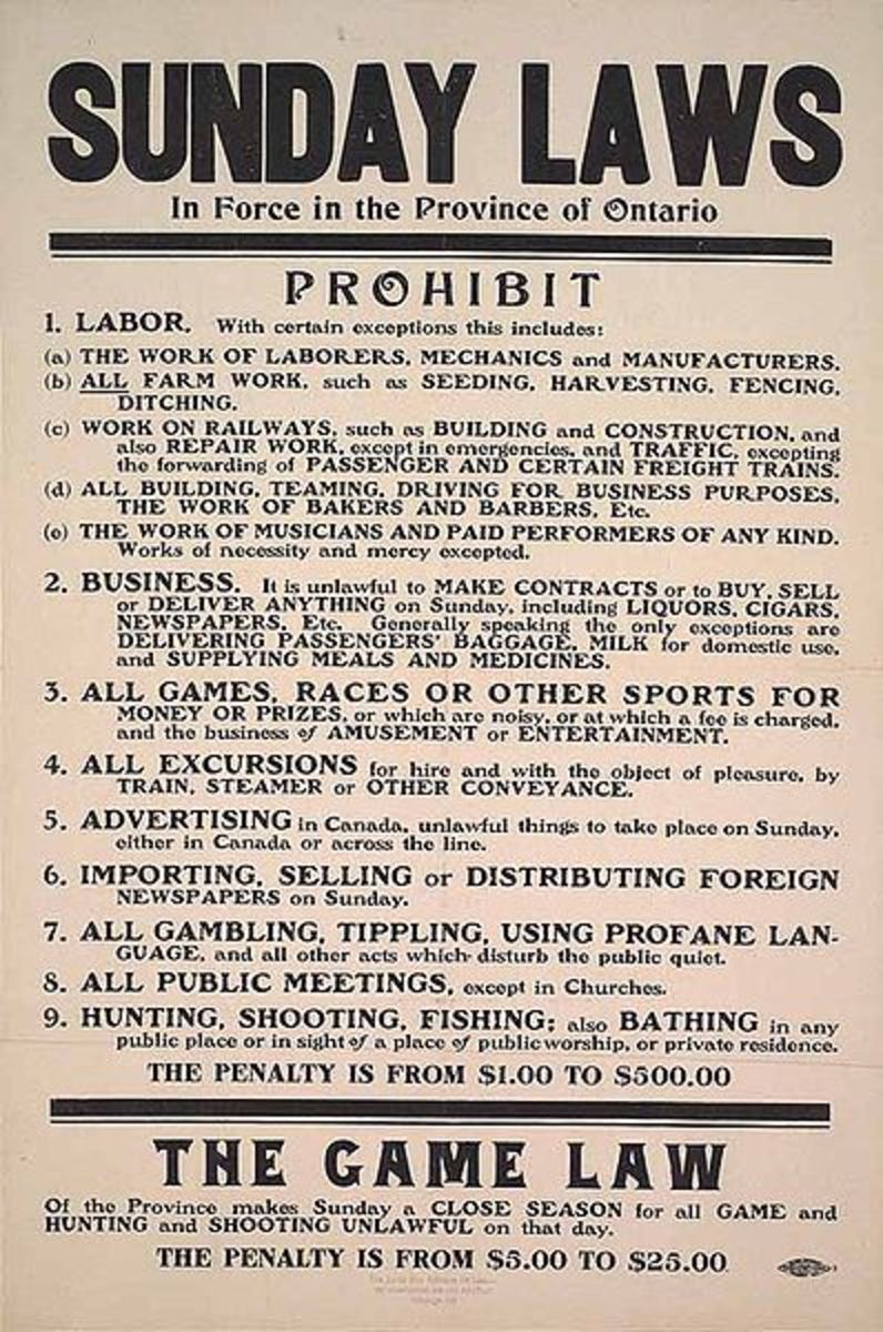 Ontario, Canada Blue Laws from 1911