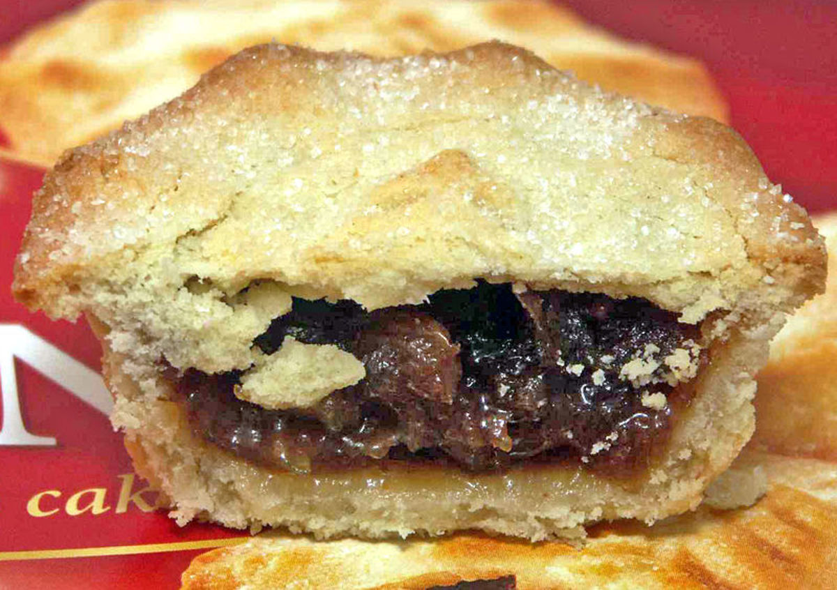 A mince pie is a pastry filled with dried fruit. Oliver Cromwell did not think these pastries were Puritan enough to be eaten on Christmas Day. They were banned during his reign.