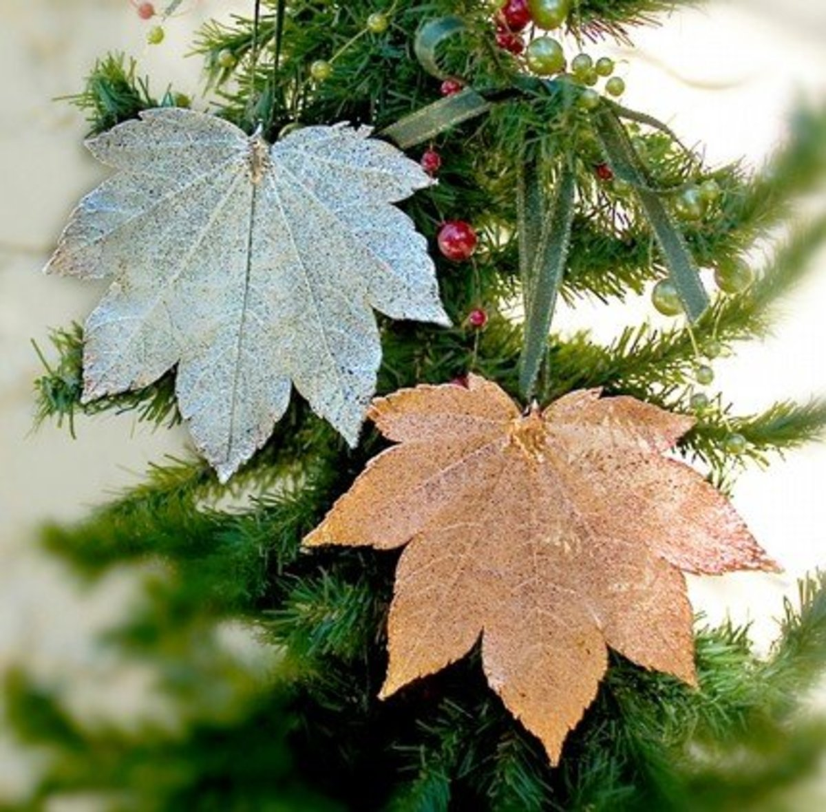 Spray painted leaf ornaments