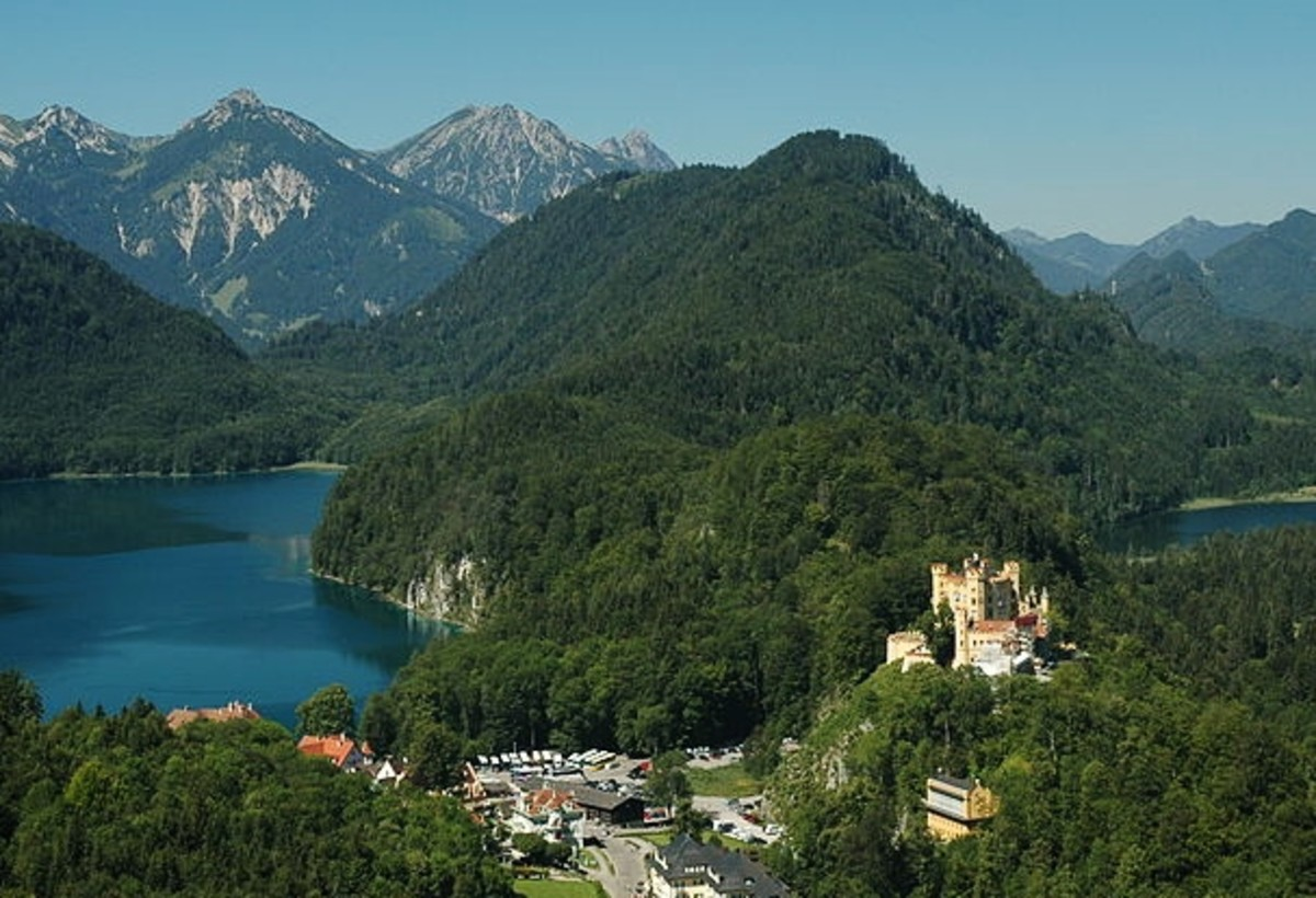 View of Hohenschwangau Castle and village as seen from Neuschwanstein Castle.