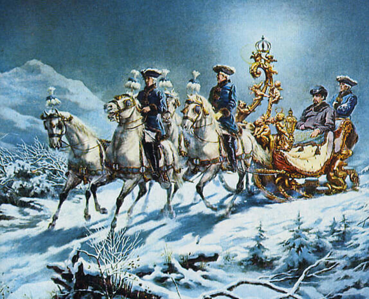Ludwig II on a night-time sleigh ride. Painting by R. Wenig.