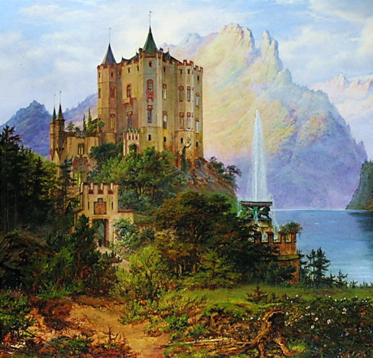 Hohenschwangau, built by Ludwig II's father, Maximilian II. Painted in 1843 by Frederik Hansen Sødring.
