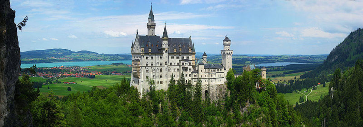 A panoramic view of Neuschwanstein Castle.