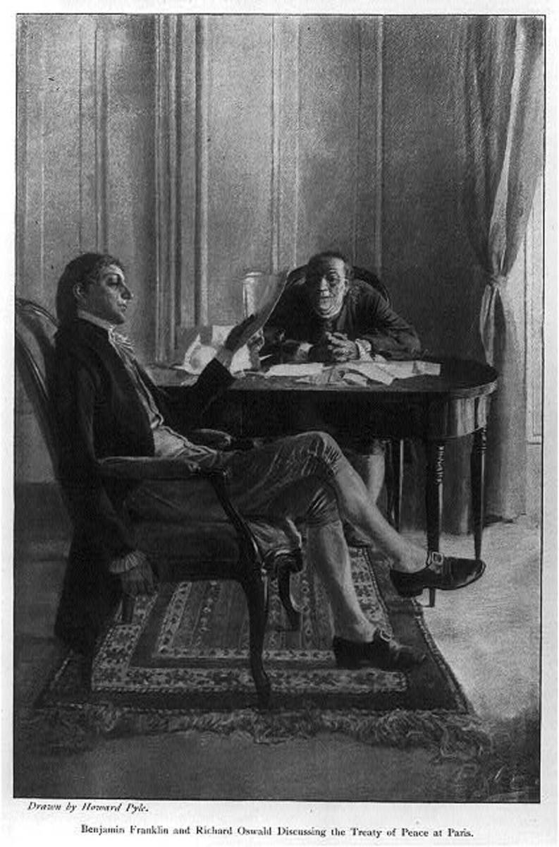 Benjamin Franklin and Richard Oswald discussing the Treaty of Peace Paris