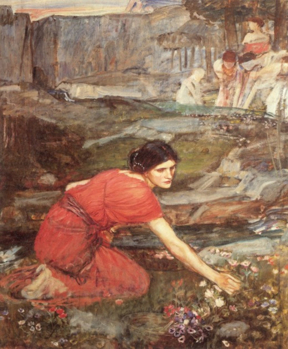 Maidens Picking Flowers by a Stream