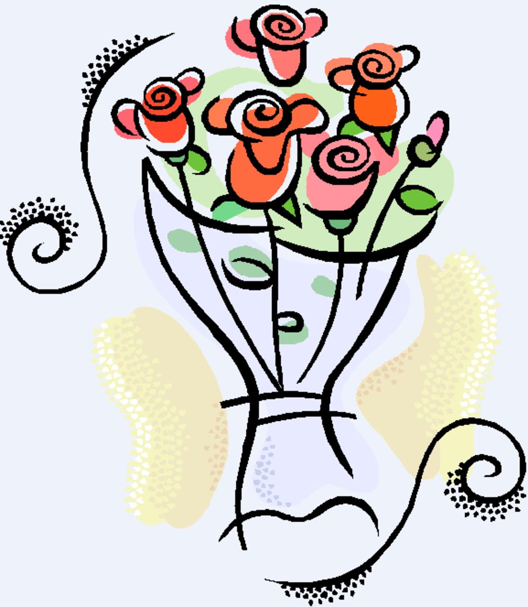 Roses in a Vase Clip Art