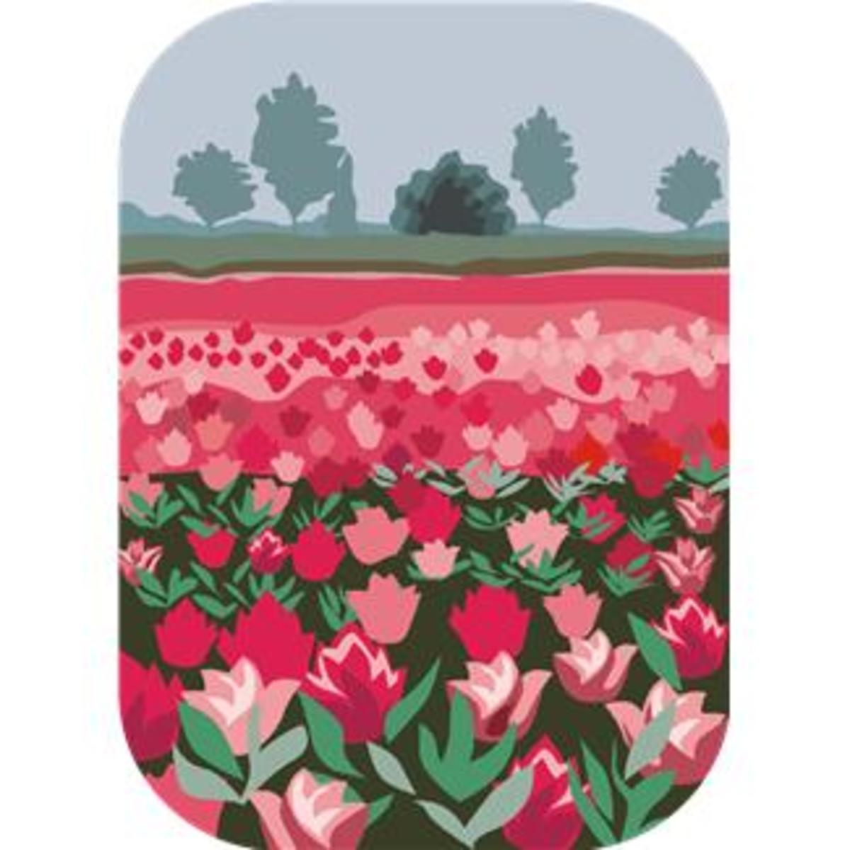 Garden of Pink and Red Tulips