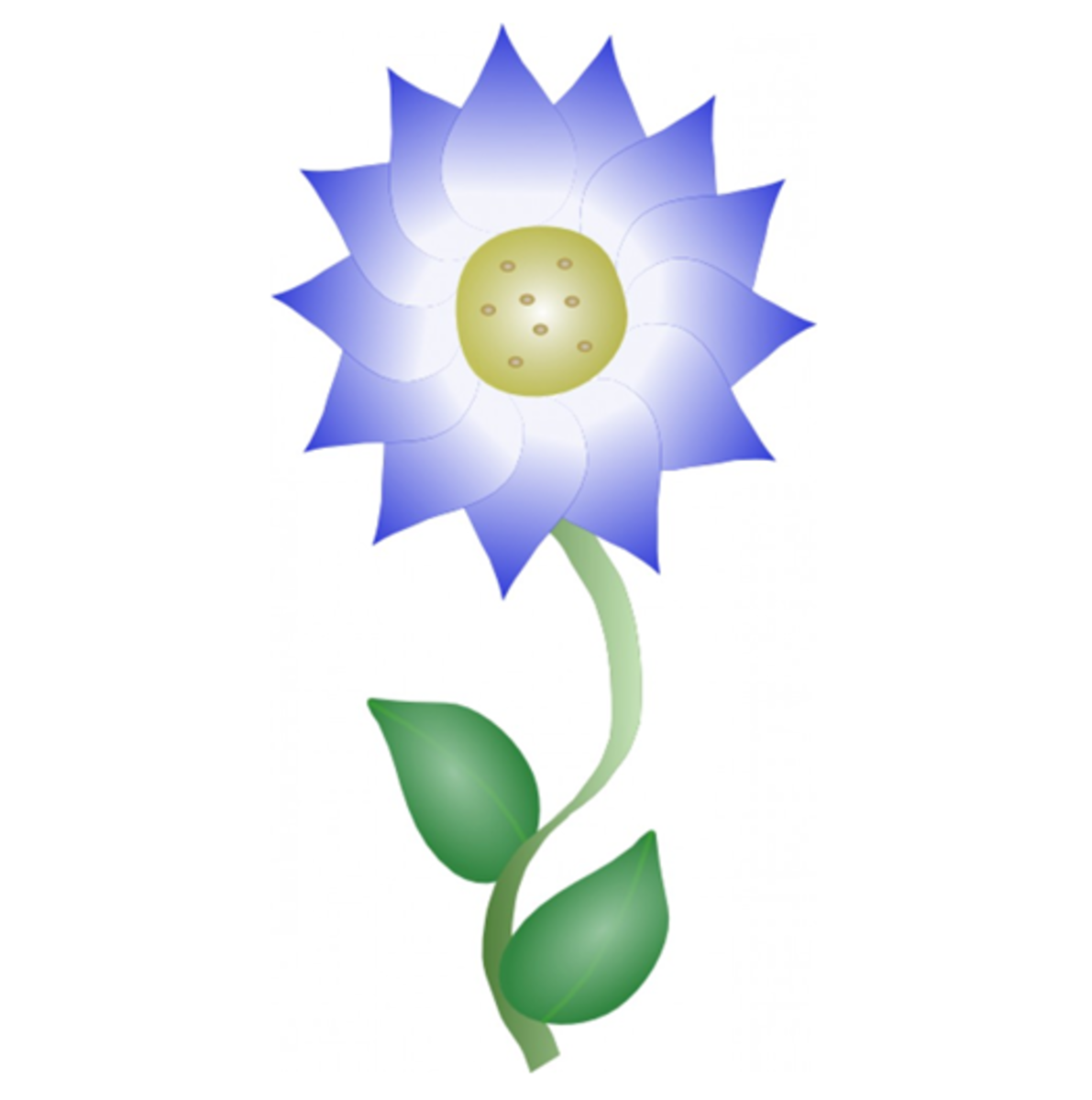 Blue Flower with Brown Center