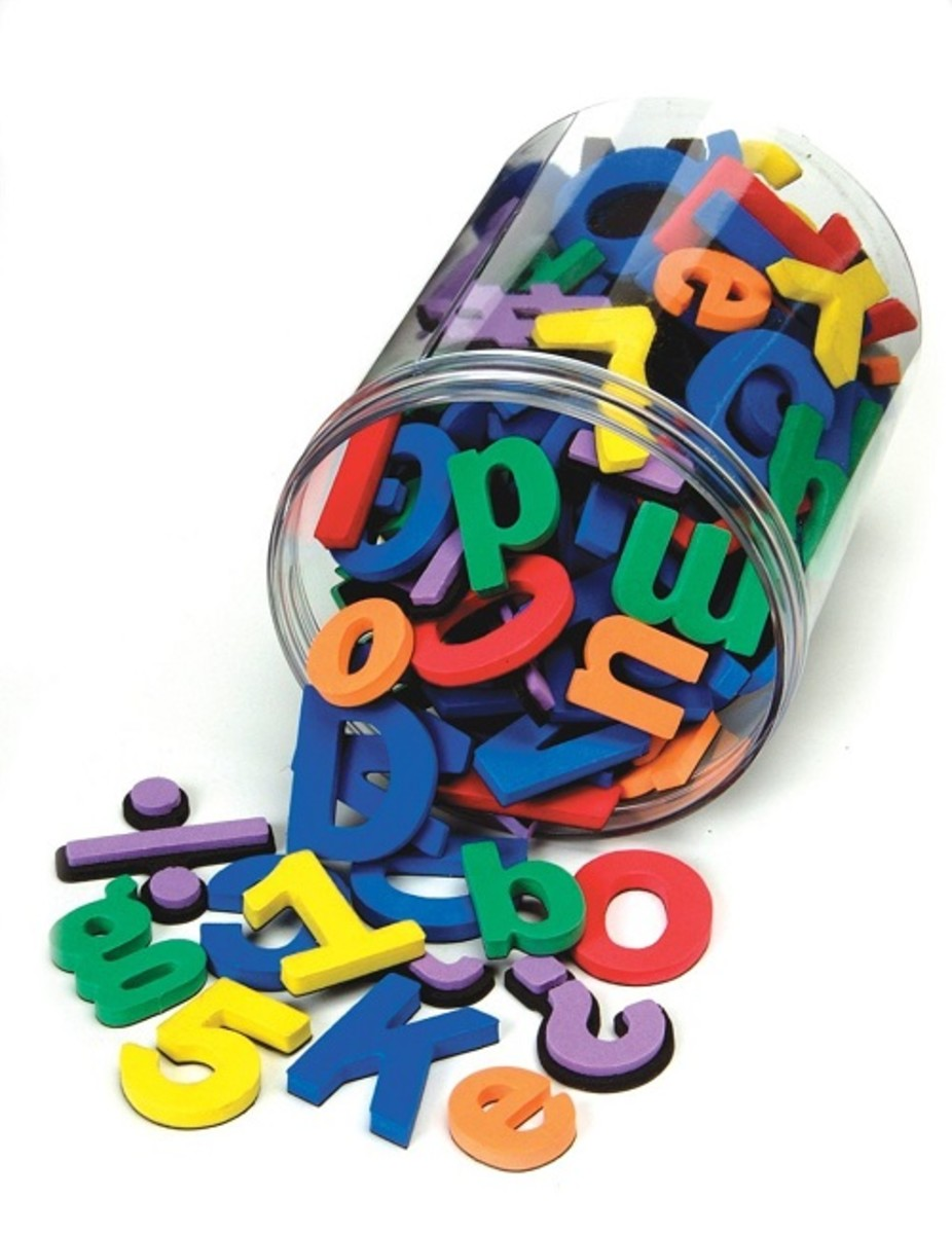 Foam magnetic alphabet letters in handy plastic storage box.