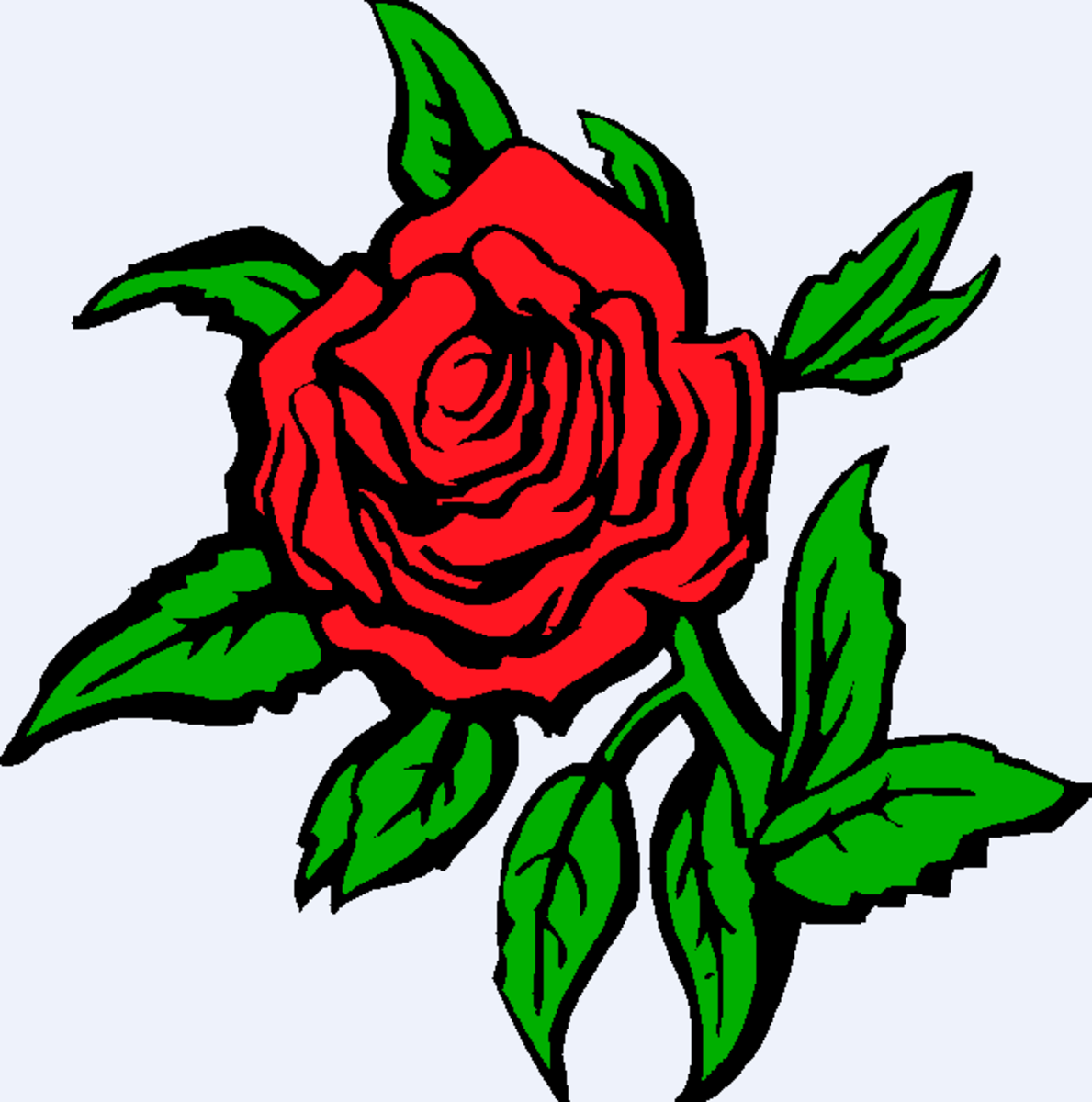 Red Rose with Many Leaves