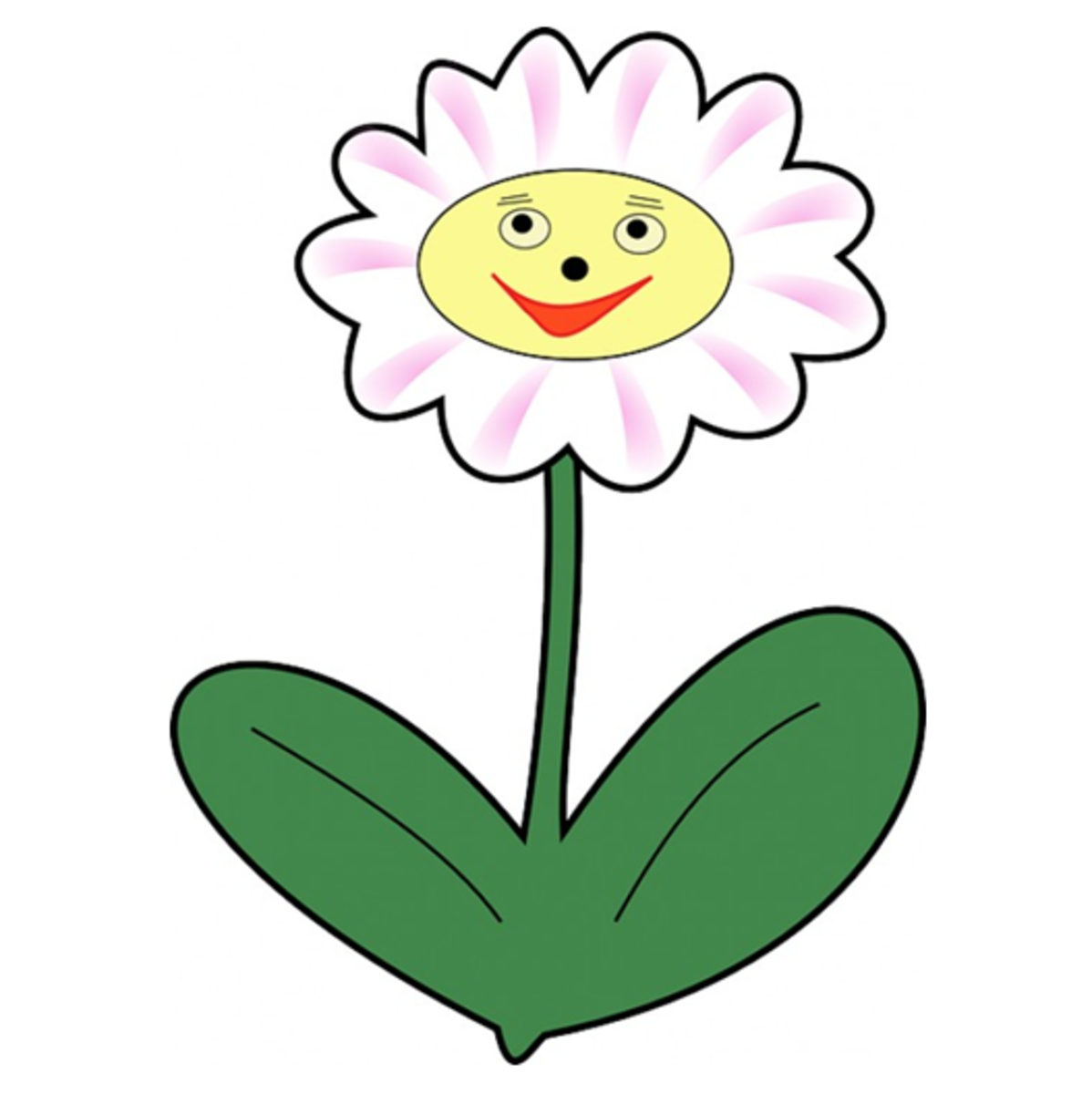 Happy Face Cartoon Flower