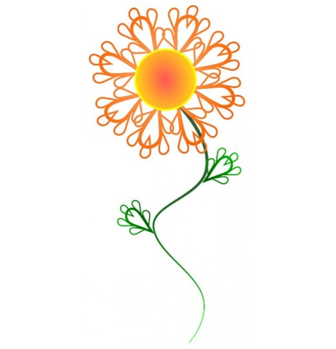 Orange Flower Drawing