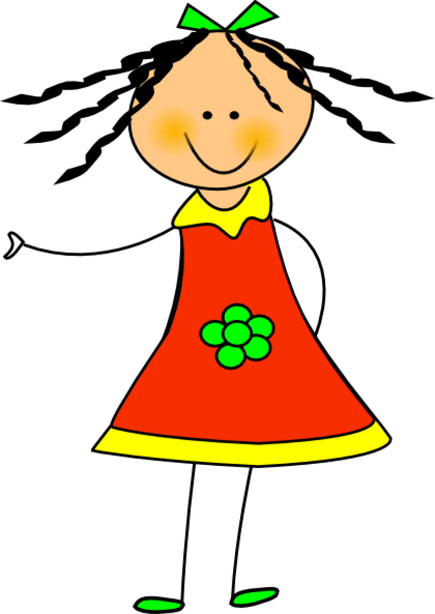 Girl with Flower Clip Art on Dress