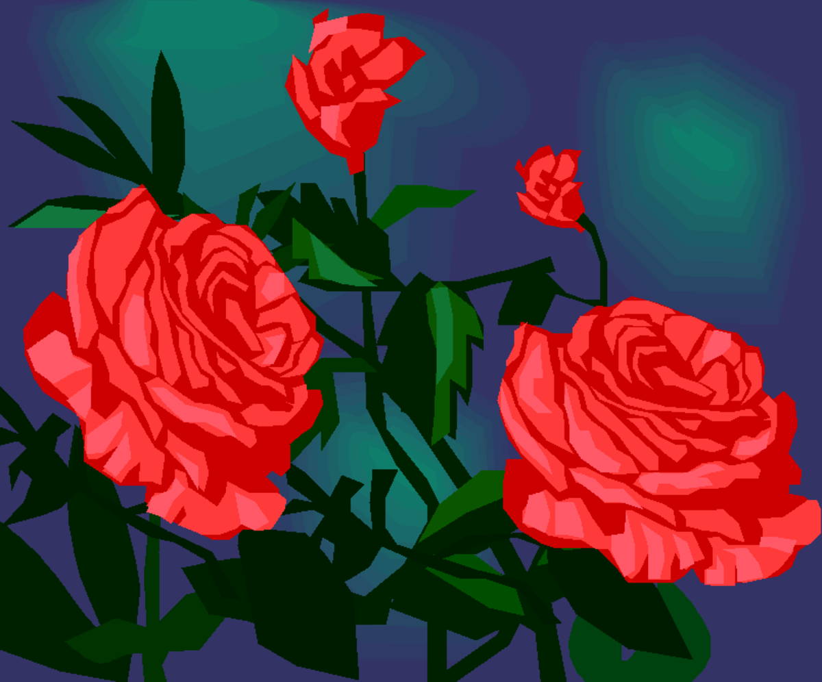 Red Roses on Blue Background