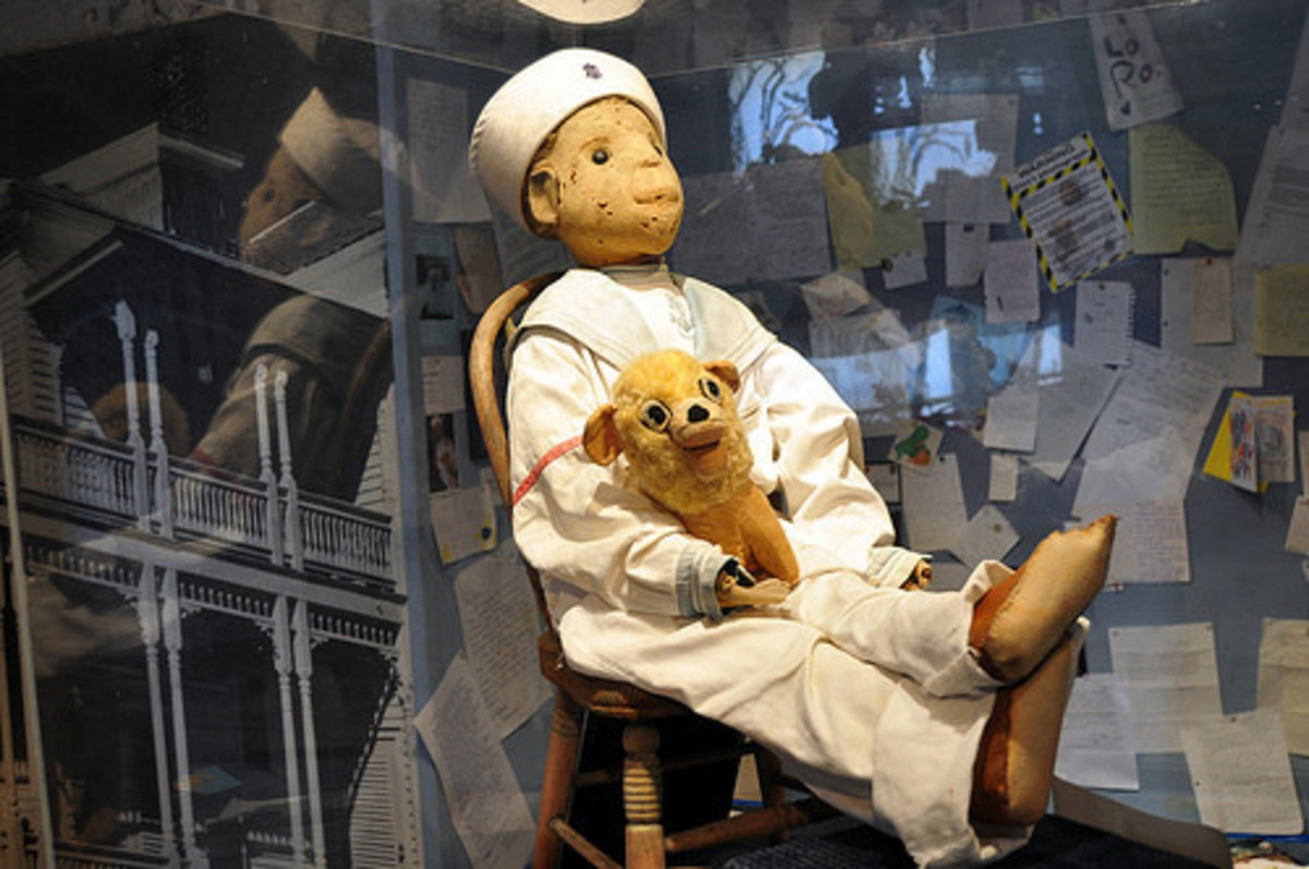 Robert the Doll in his glass case at the Fort East Martello Museum in Key West, Florida.