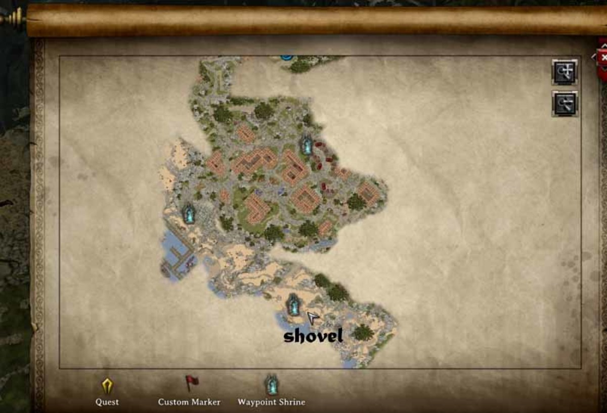 Divinity Original Sins where to get the shovel for to dig out Jake's body in A Mysterious Murder quest. Use the wayshrine teleporters to get there and back to the city of Cyseal.
