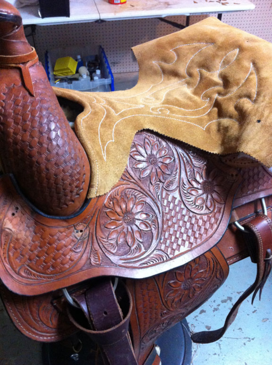 Cutting sides during western saddle seat replacement