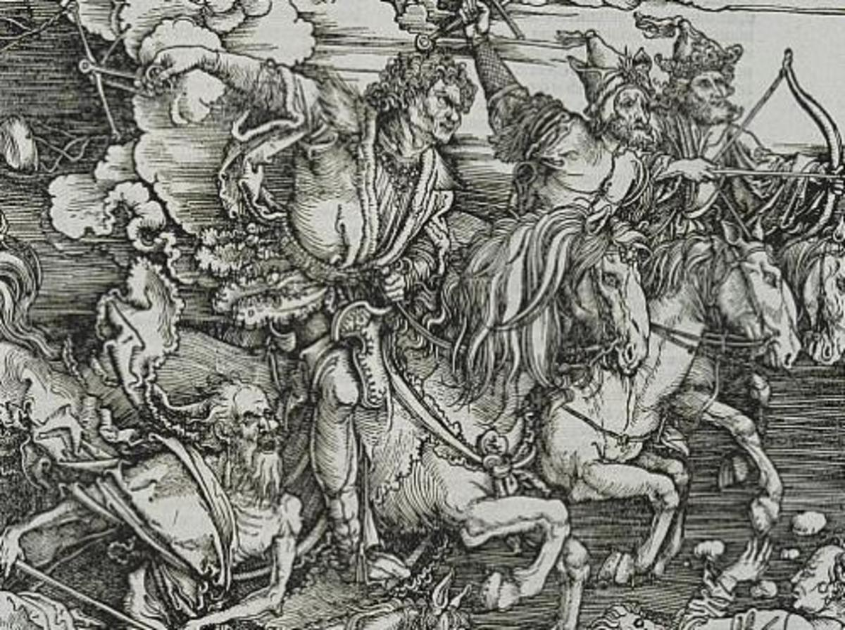 The Four Horseman of the Apocalypse, a wood cut engraving by Albrecht Durer and considered his masterpiece work.