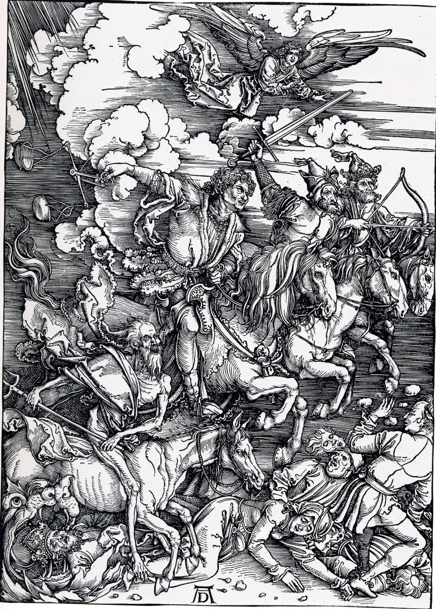 Another look at the Four Horsemen of the Apocalypse, Durer's greatest wood carving.
