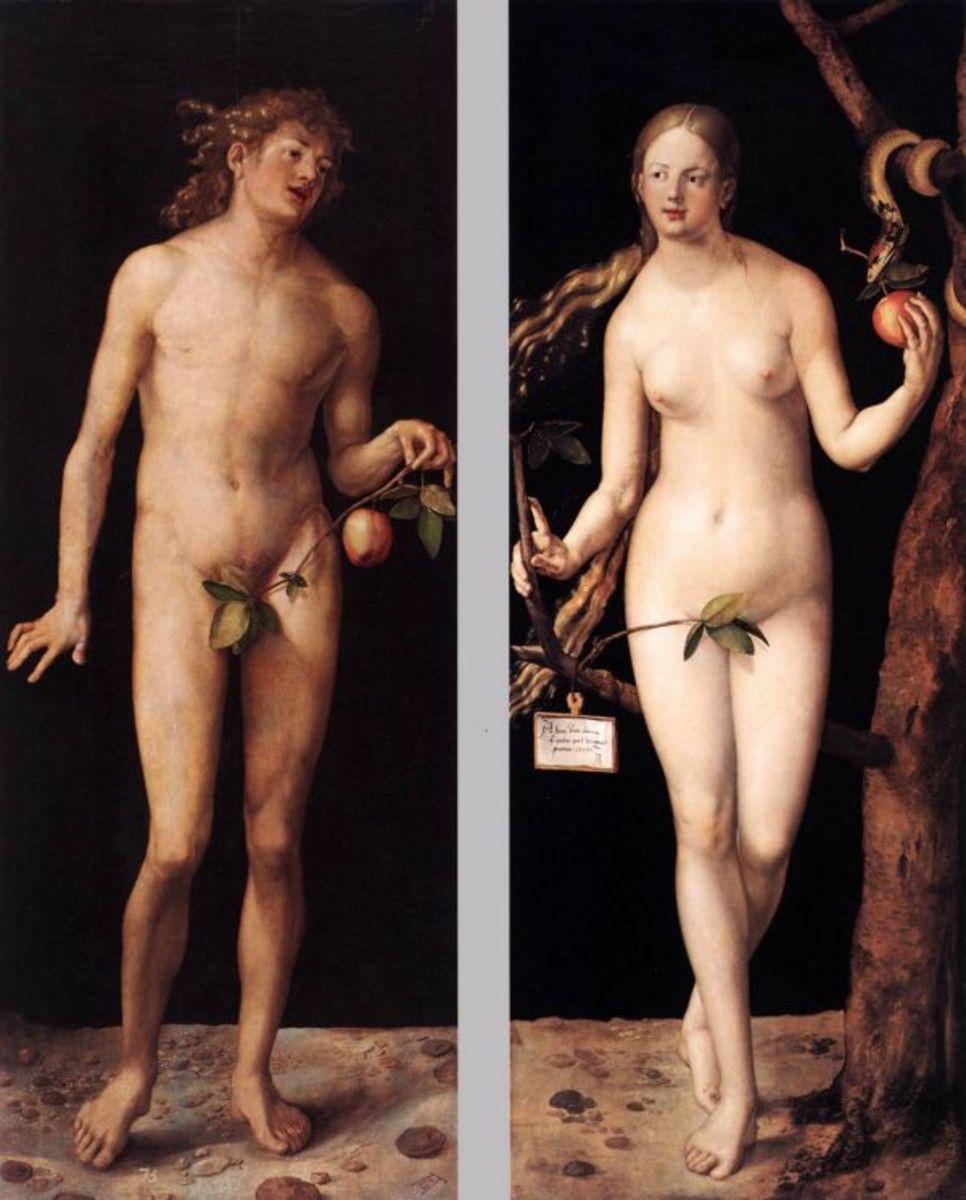 Adam & Eve engraving in color, by Albrecht Durer. 1504
