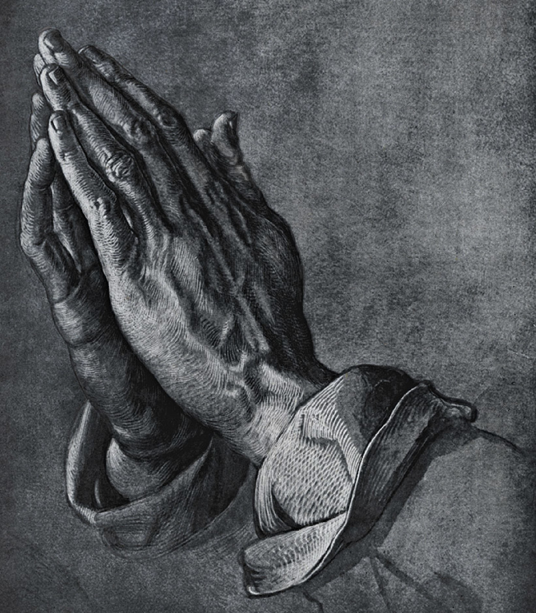 Durer's famous engraving of the Praying Hands.