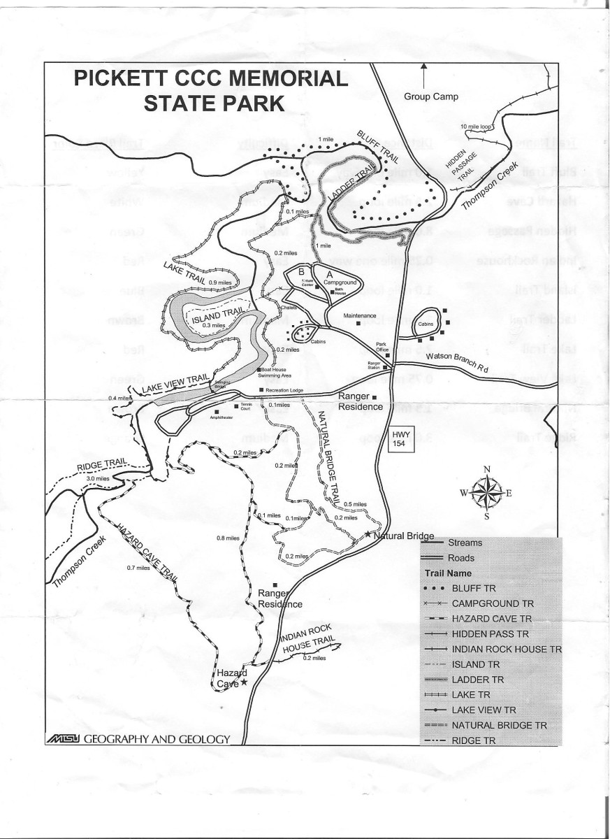 scanned image of Pickett State park trails map