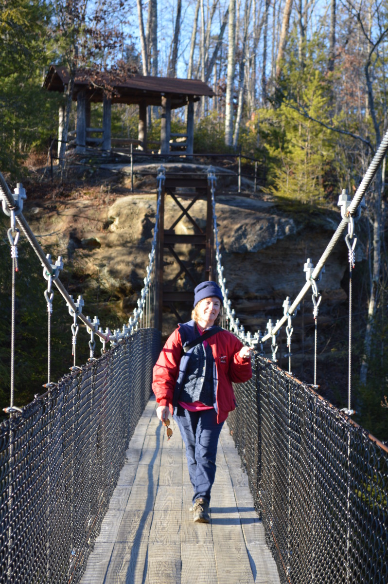 walk the swinging bridge to the island trail in Pickett State park