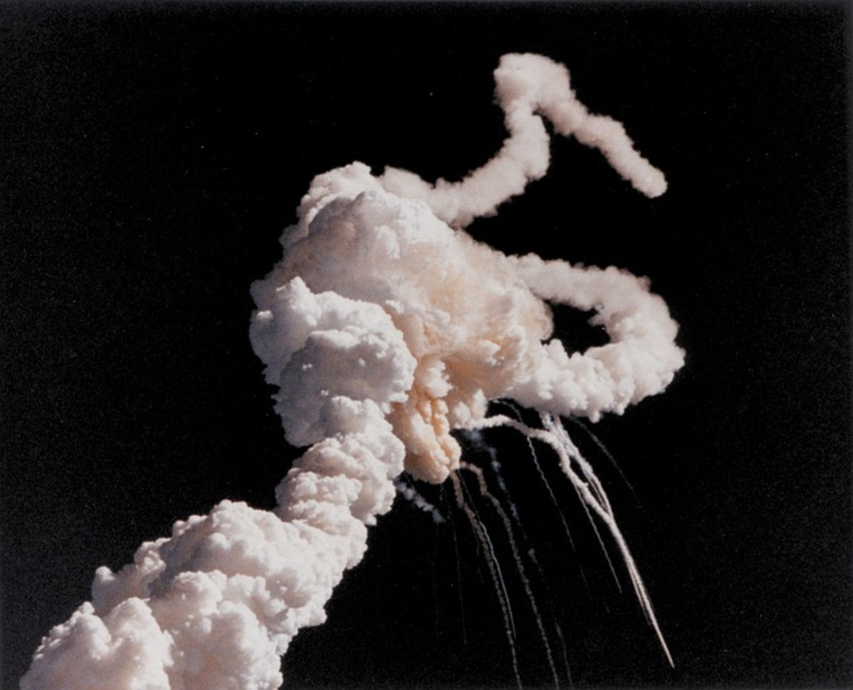 The explosion of the Challenger occurred at take off, right before our eyes.