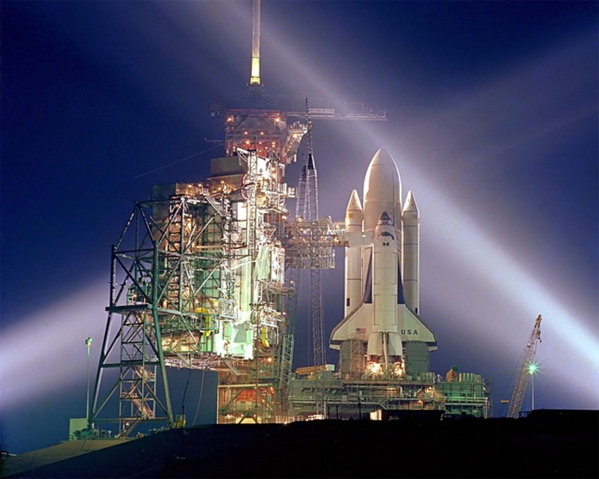 The Space Shuttle Columbia on that ill-fated morning, preparing for take off.