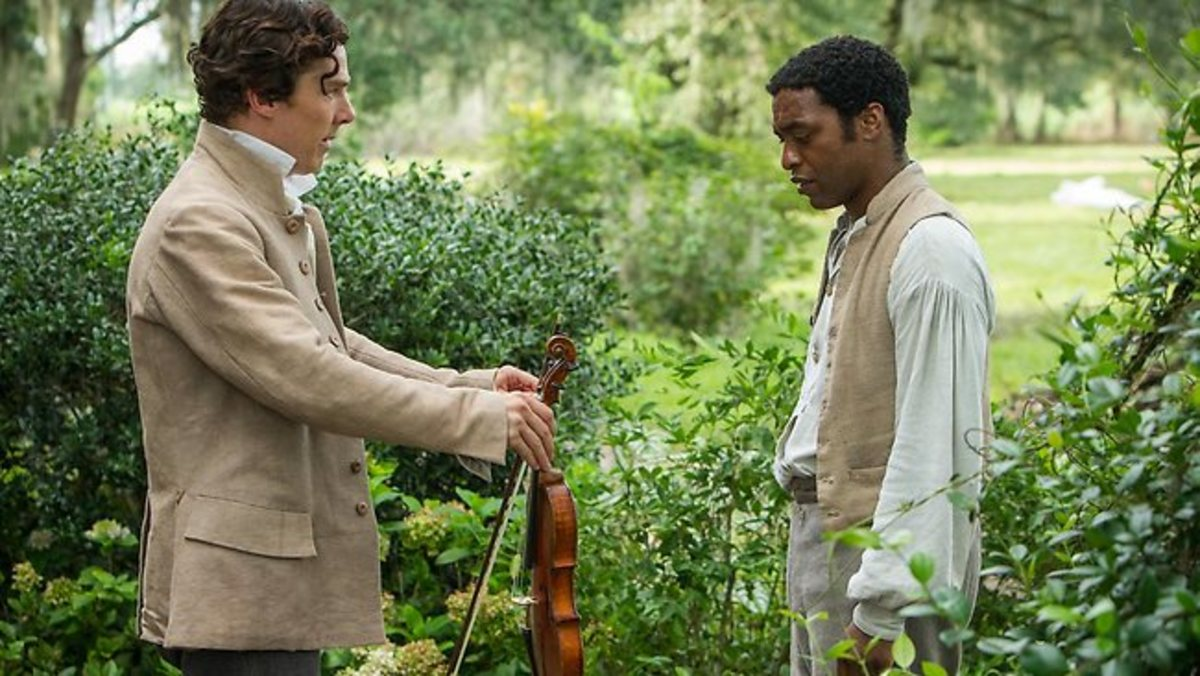 Benedict Cumberbatch as Northrup's Master Gives Him a Violin