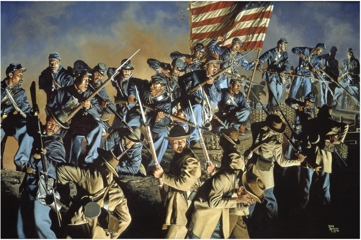 Painting - 54th MA Volunteers, the most famous of all colored units, attacks Battery Wagner in SC