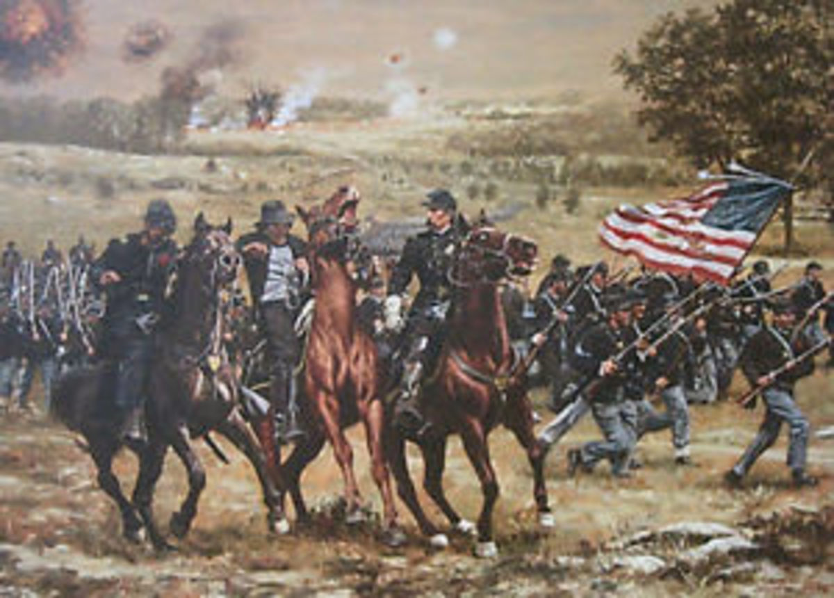 Painting - 20th ME Volunteers comes under artillery fire as it moves into position