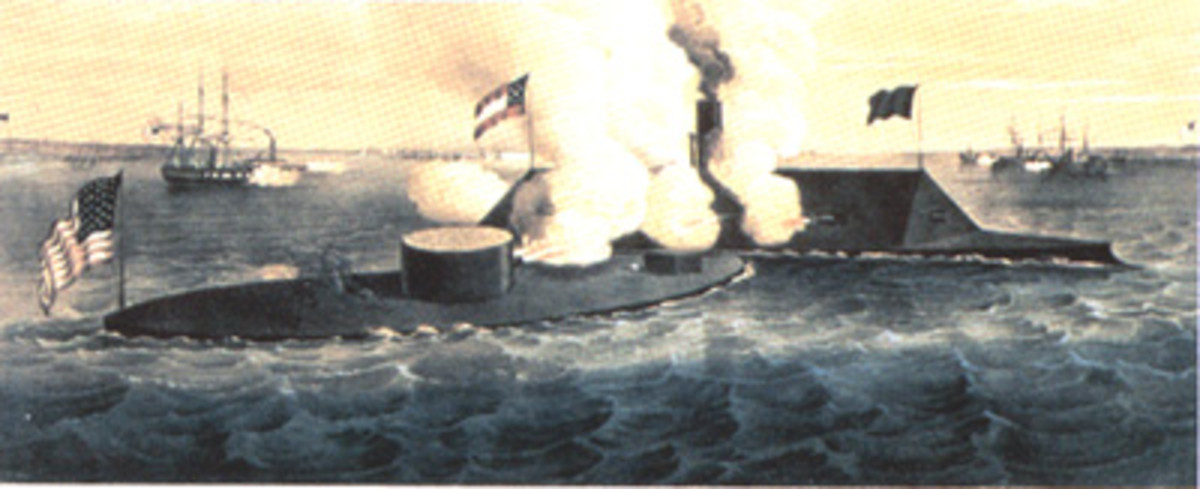 Battle of Hampton Roads, the first clash between ironclad vessels (USS Monitor vs CSS Virginia)