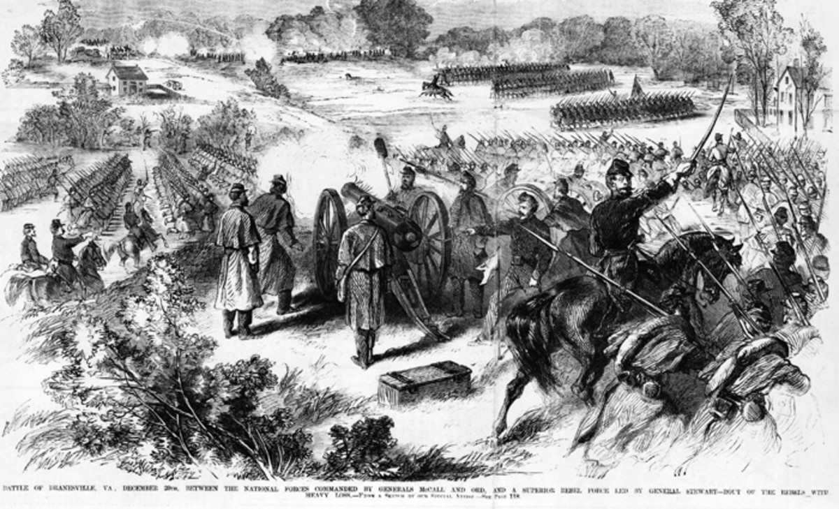 Sketch - troops rush forward into position as artillery engages enemy batteries at Dranesville, VA Jan. 1862