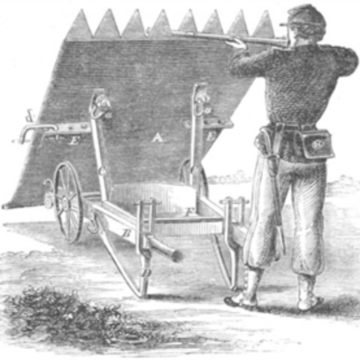 Sketch - a portable breastwork, an innovation that proved of dubious value if it ever was tested