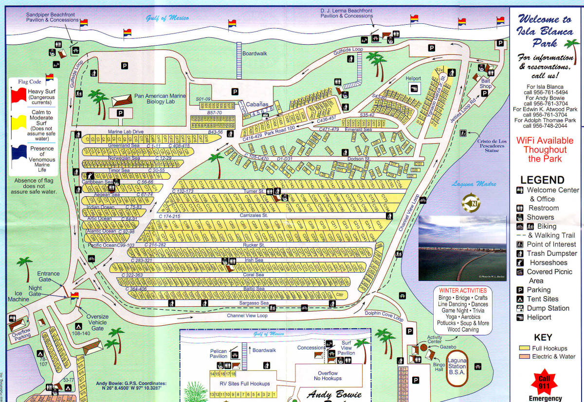 Map of Campground Isla Blanca South Padre Island TX