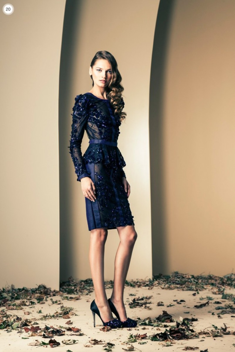 A mid length chic creation by Ziad Nakad in Dark formal blue