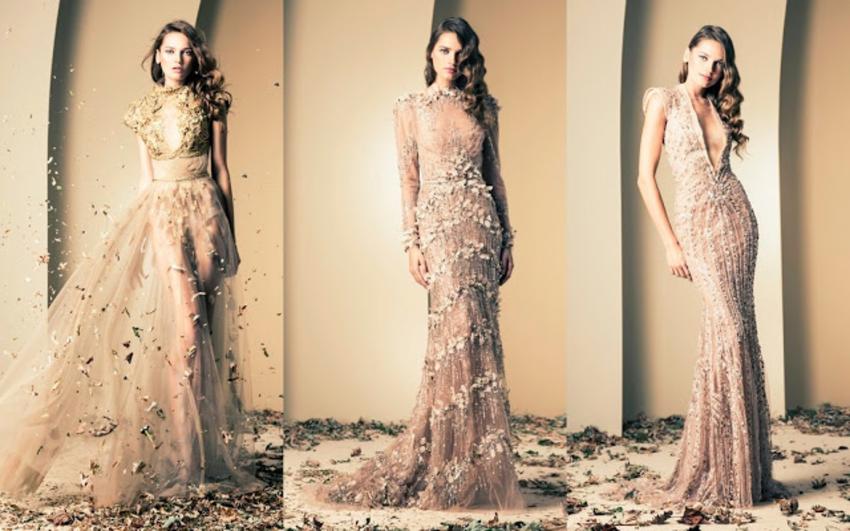 Collage photograph of 3 lovely designer gowns