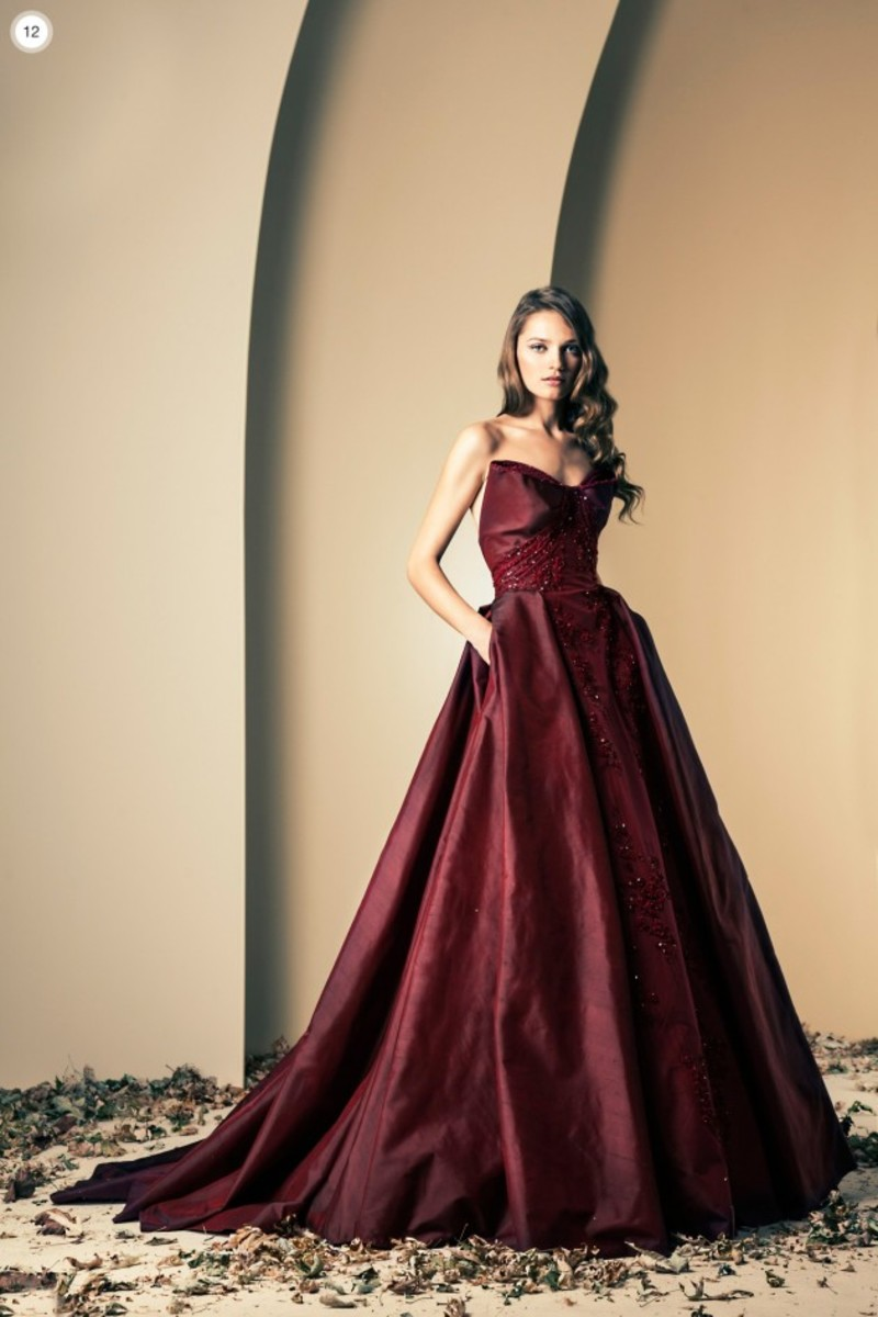 Ball gown in sheer Maroon silk.