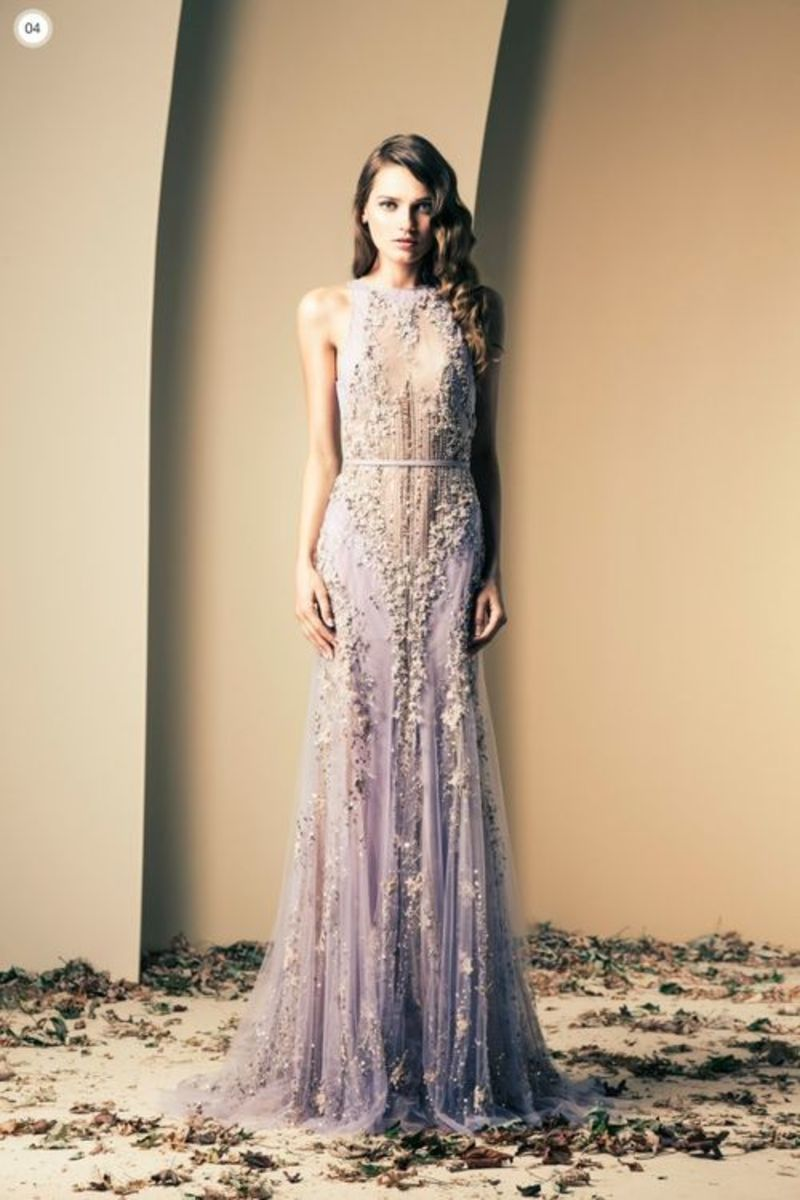 Gorgeous gown in lilac by Lebanese Fashion Designer Ziad Nakad