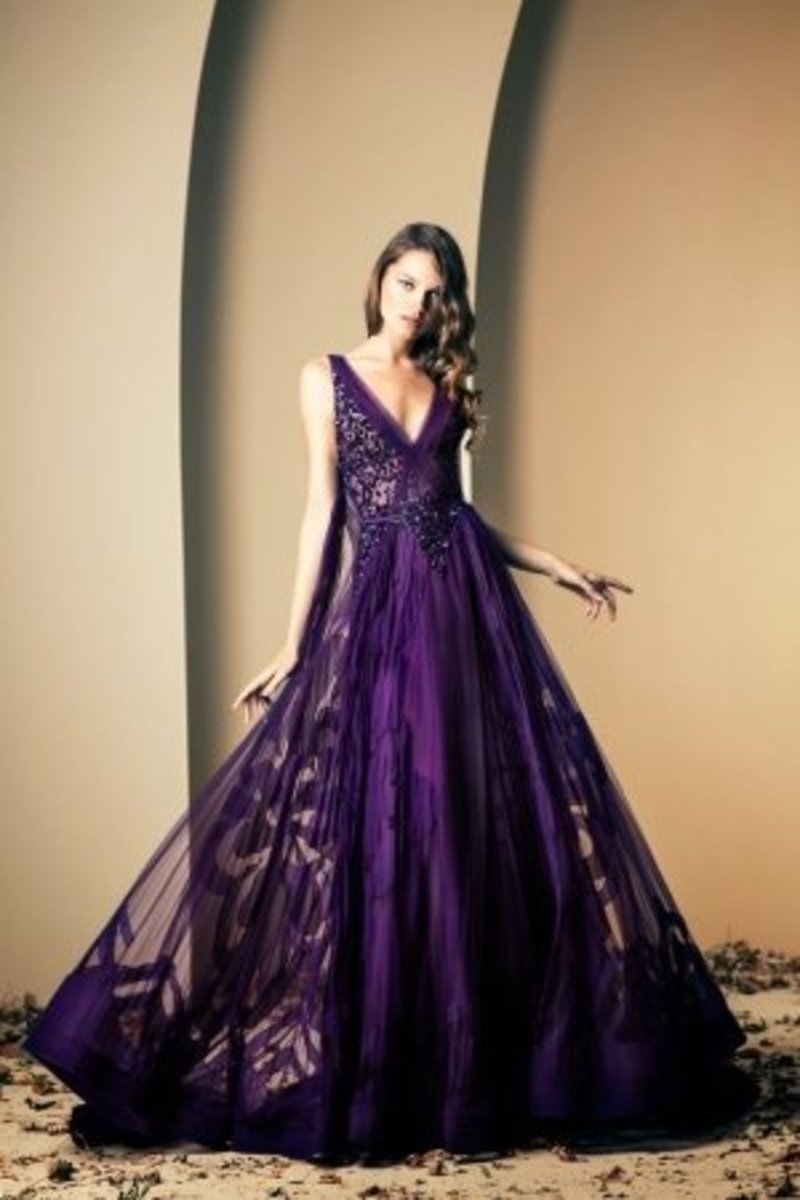 Violet flowy gown by Ziad Nakad 2013-2014 haute couture collection