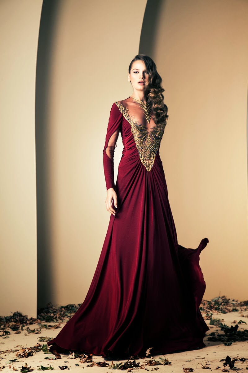 Deep Blue-Red Haute couture designer gown by Nakad from his 2013-2014 collection