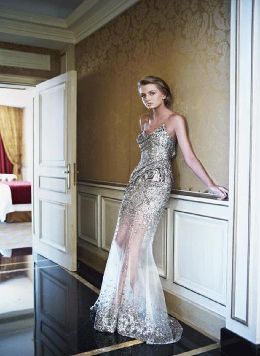 Semi-transparent sheer gown. Very sensuous