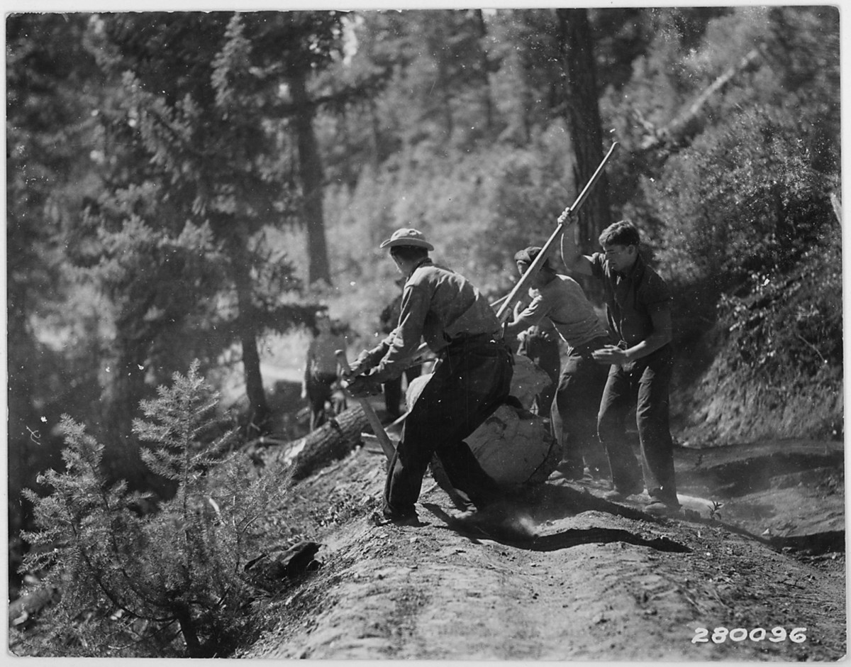 Civilian Conservation Corps in Idaho, Boise National Forest circa 1933.