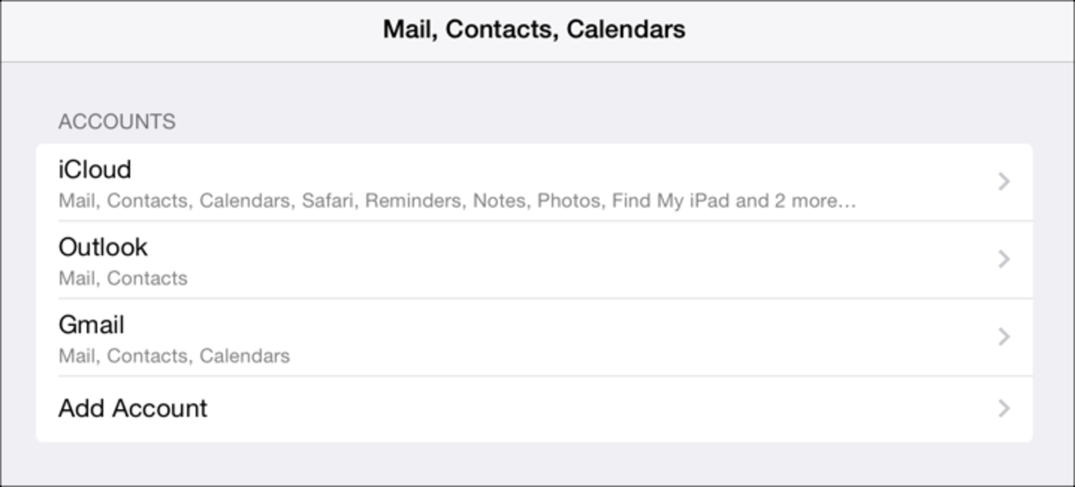 iPad Mail and Calendar Accounts: Screenshot by Jonathan Wylie