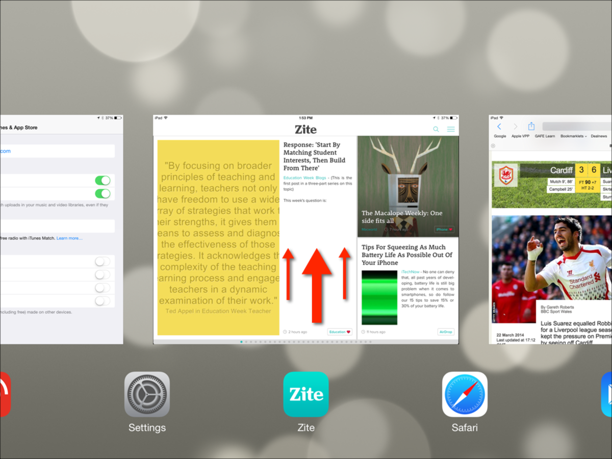 Close apps from the multitasking menu: Screenshot by Jonathan Wylie