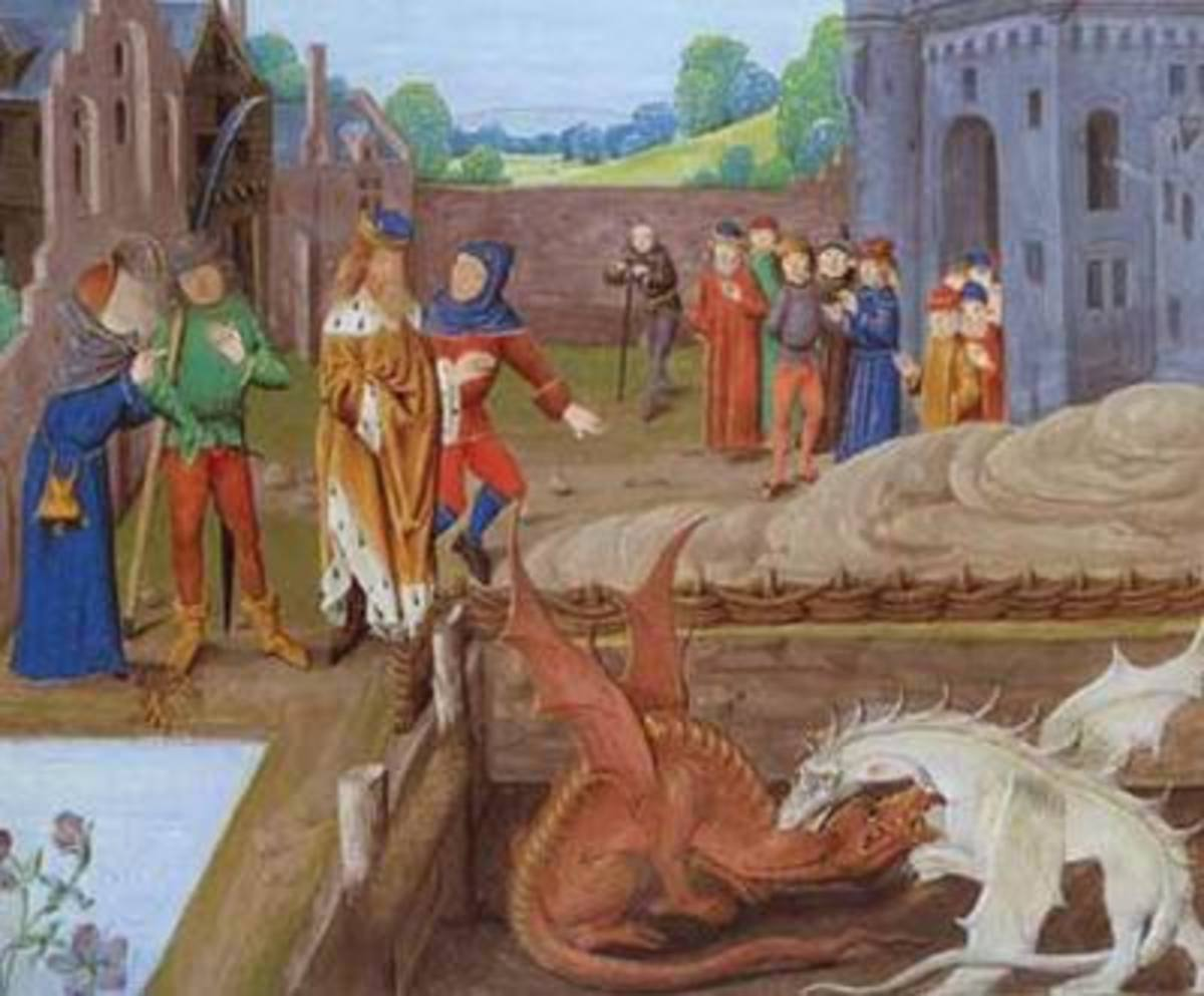 Merlin, explains that an underground fight between red and white dragons is causing Vortigern's fortress to collapse