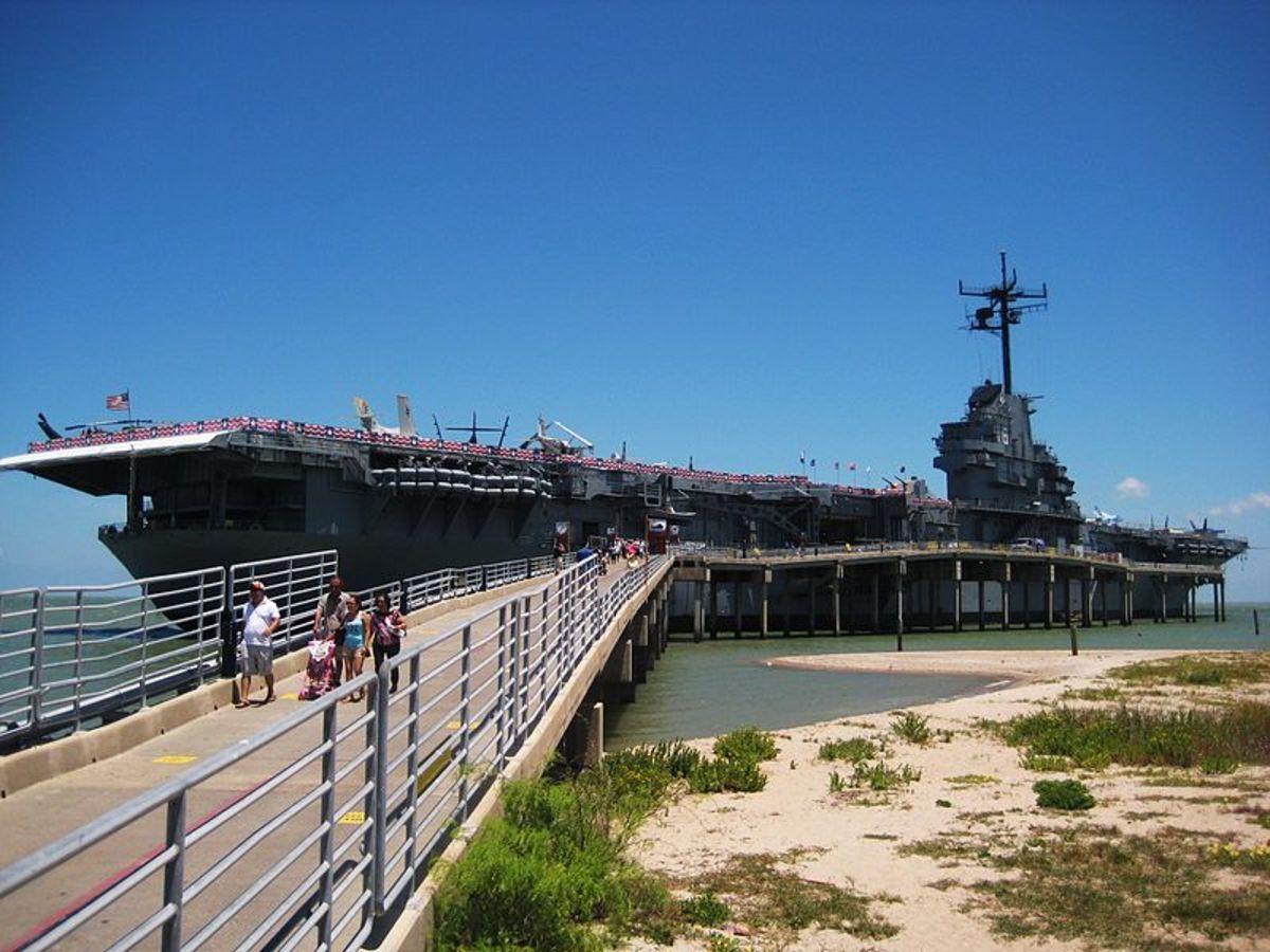 USS Lexington at Corpus Christi Bay.