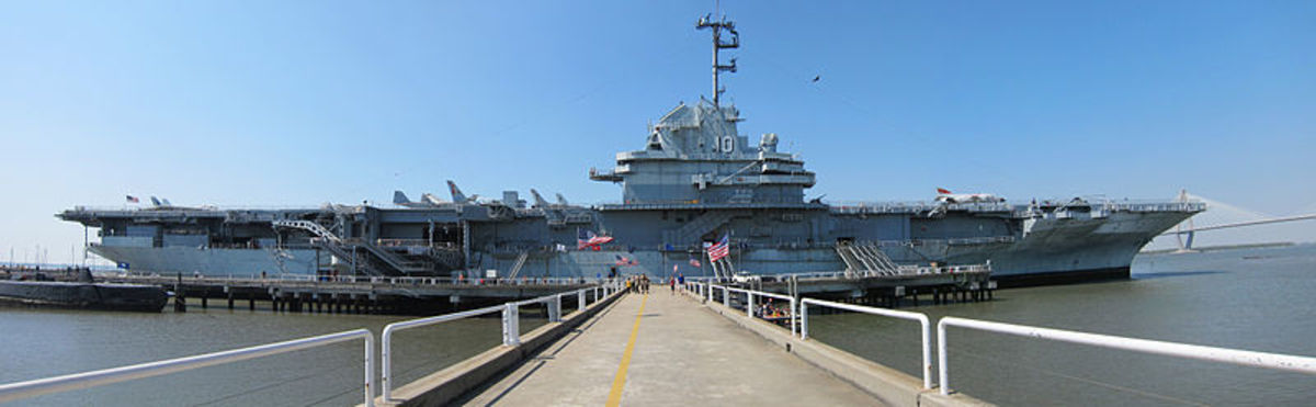 A panoramic image of the USS Yorktown (CVS-10) as she sits at Patriots Point in Mount Pleasant, South Carolina (USA)
