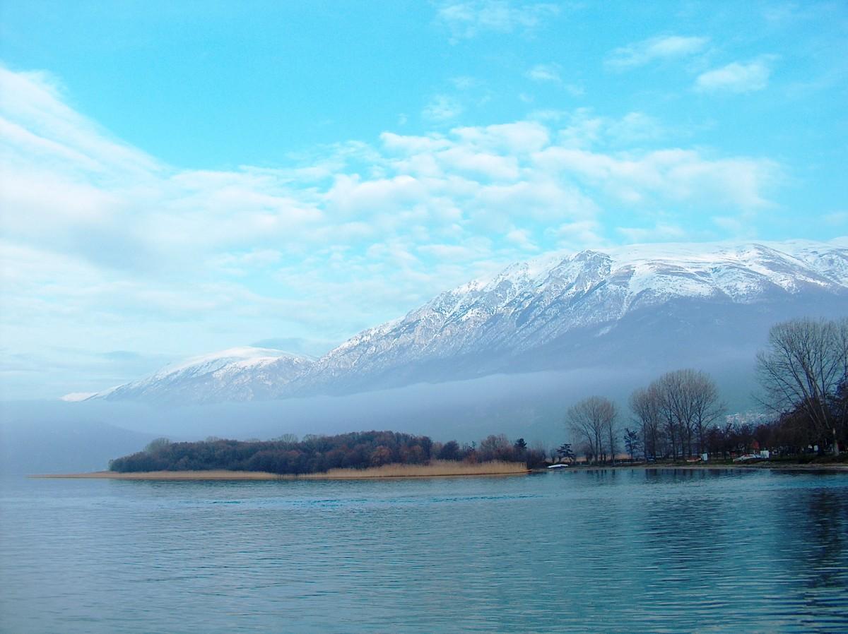 Ohrid Lake and Galichitsa Mountain near St. Naum Monastery, Republic of Macedonia